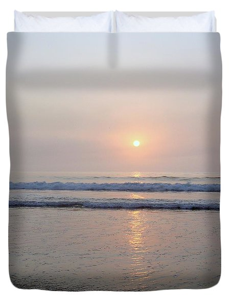 Hampton Beach Waves And Sunrise Duvet Cover by Eunice Miller