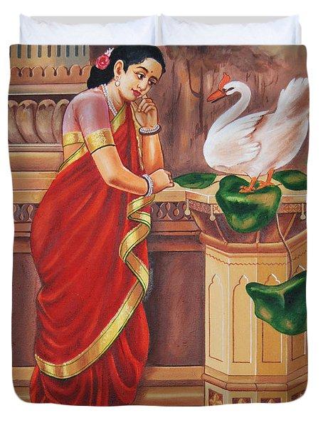 Duvet Cover featuring the painting Hamsa Damayanthi by Ragunath Venkatraman