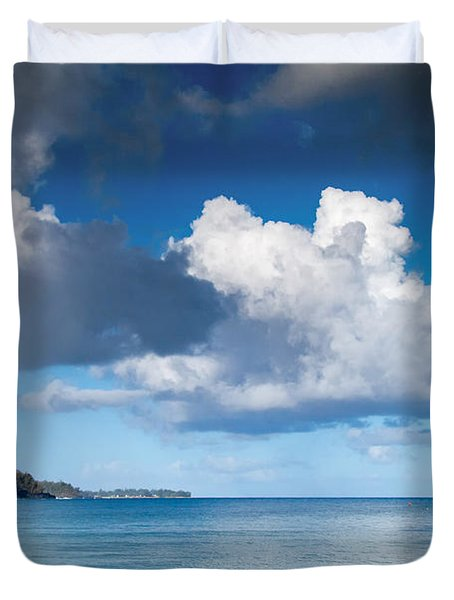 Hanalei Bay And Rainbow Duvet Cover by Roger Mullenhour
