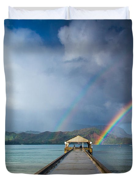 Hanalei Bay Pier And Double Rainbow Duvet Cover by Roger Mullenhour