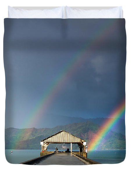Hanalei Pier And Double Rainbow Duvet Cover by Roger Mullenhour
