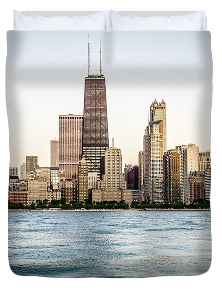 Hancock Building And Chicago Skyline Duvet Cover by Paul Velgos
