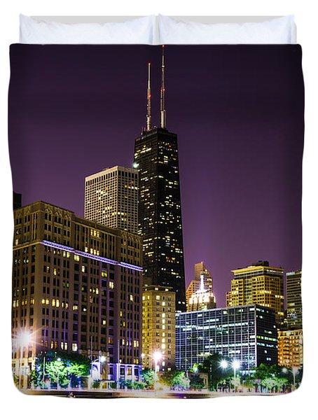 Hancock Building With Dusk Chicago Skyline Duvet Cover by Paul Velgos