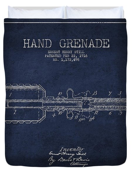 Hand Grenade Patent Drawing From 1916 Duvet Cover by Aged Pixel