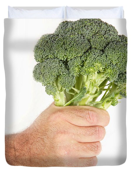 Hand Holding Broccoli Duvet Cover by James BO  Insogna