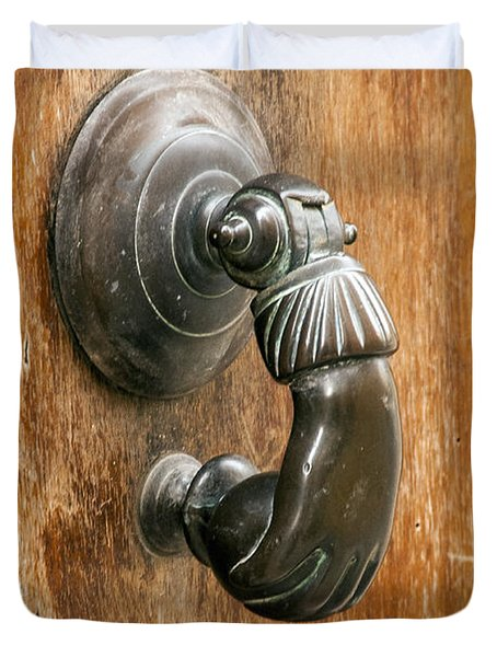 Hand Knocker Duvet Cover by Bob Phillips