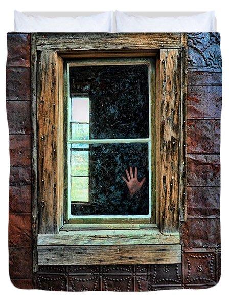 Hand On Old Window Duvet Cover by Jill Battaglia