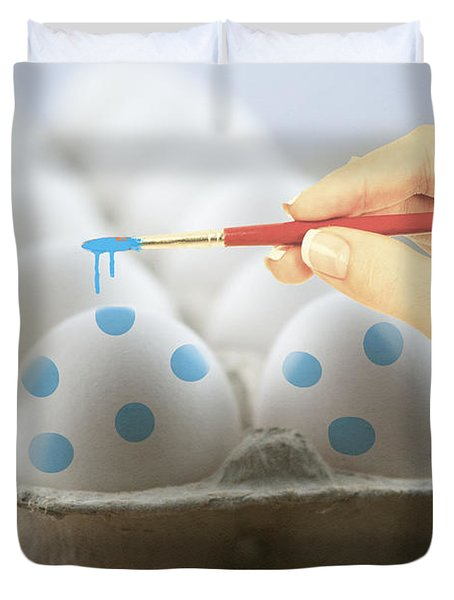 Hand Painted Easter Eggs Duvet Cover by Juli Scalzi