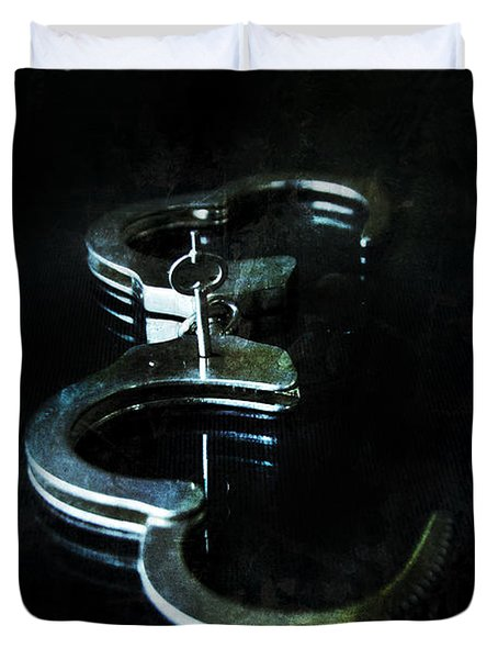 Handcuffs On Black Duvet Cover by Jill Battaglia