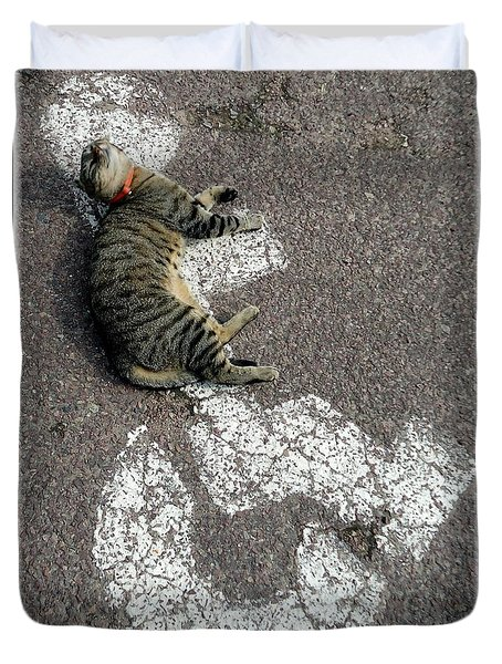 Handicat Parking Duvet Cover by Barbie Corbett-Newmin