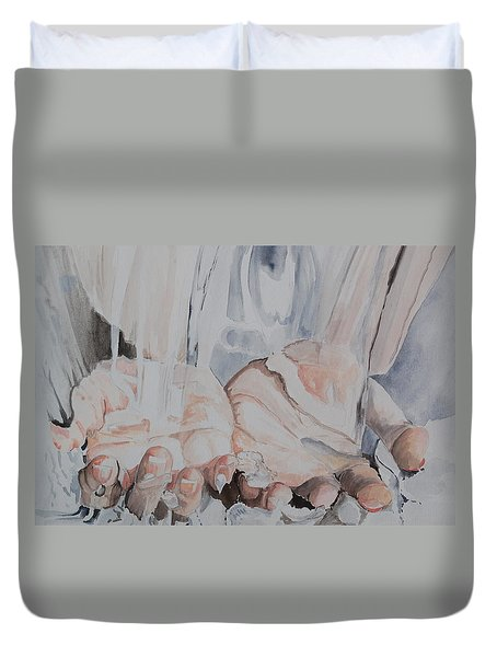Hands In Water Duvet Cover