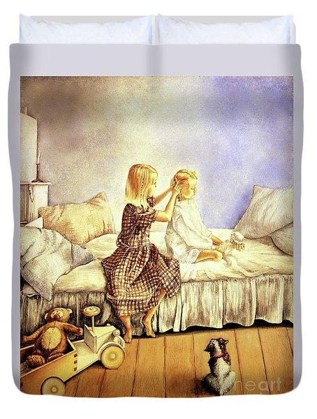 Hands Of Devotion - Childhood Duvet Cover by Linda Simon