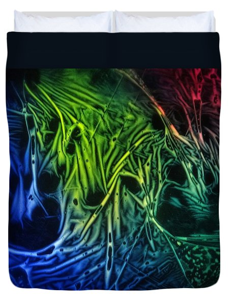 chemiluminescence photography Handprint Duvet Cover by David Mckinney