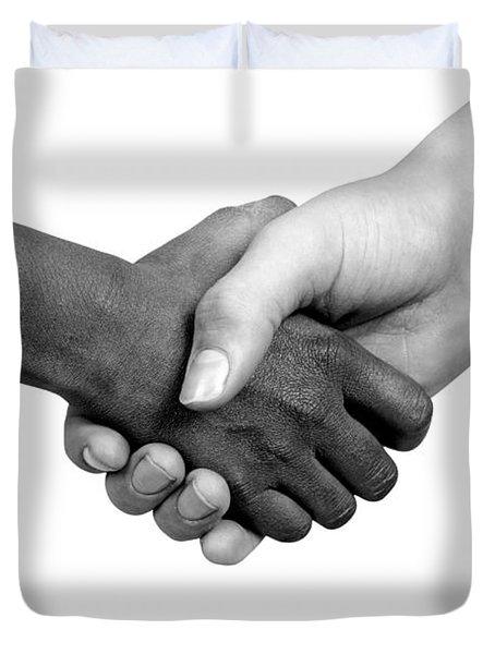 Handshake Black And White Duvet Cover