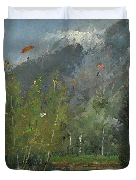 Hang Gliders At Chamonix, 2007 Oil On Canvas Duvet Cover