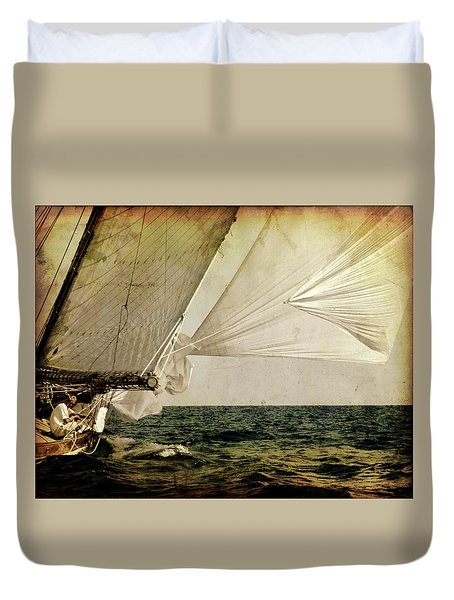 Duvet Cover featuring the photograph Hanged On Wind In A Mediterranean Vintage Tall Ship Race  by Pedro Cardona