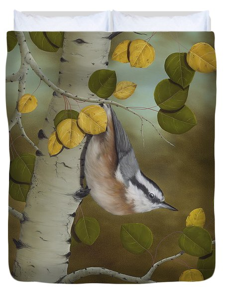 Hanging Around-red Breasted Nuthatch Duvet Cover by Rick Bainbridge