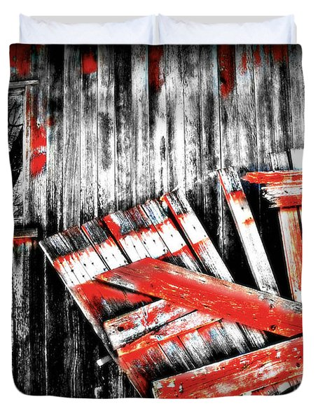 Hanging By A Few Nails Bw Duvet Cover by Julie Hamilton