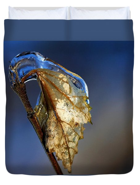 Duvet Cover featuring the photograph The Last Leaf  by Debbie Oppermann