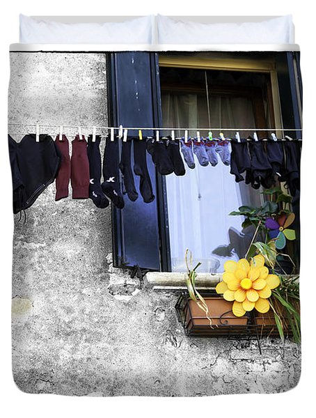 Hanging Out To Dry In Venice 2 Duvet Cover by Madeline Ellis