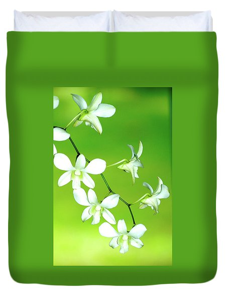 Hanging White Orchids Duvet Cover