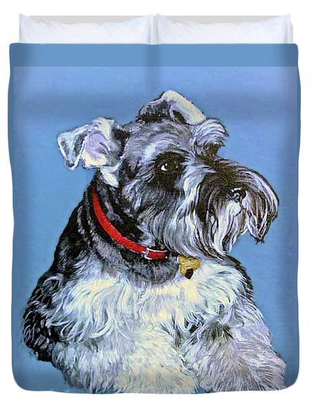 Duvet Cover featuring the painting Hans The Schnauzer Original Painting Forsale by Bob and Nadine Johnston