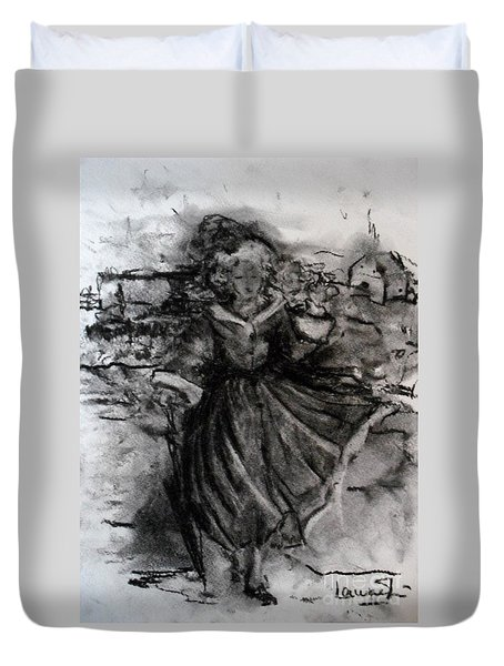 Duvet Cover featuring the drawing Happiness by Laurie Lundquist