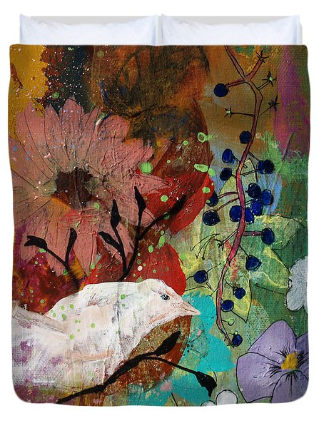 Duvet Cover featuring the painting Happiness by Robin Maria Pedrero