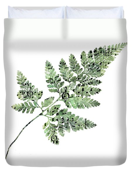 Happy Adventure Music Fern Duvet Cover by Sandra Foster