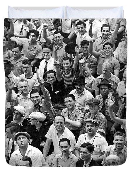 Happy Baseball Fans In The Bleachers At Yankee Stadium. Duvet Cover