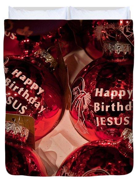 Happy Birthday Jesus Duvet Cover