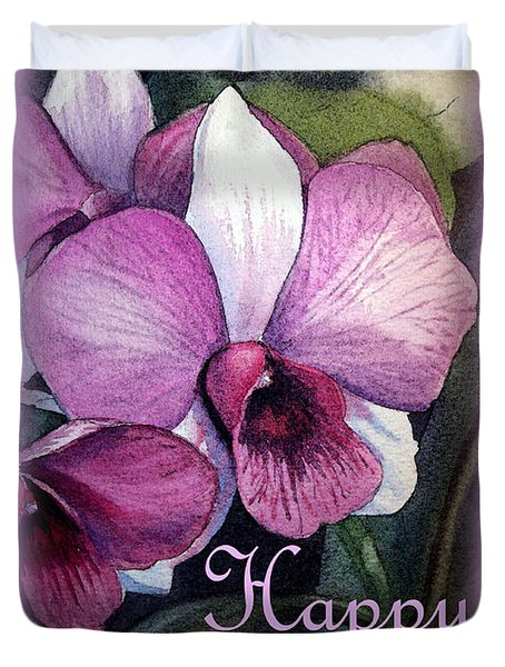 Happy Birthday Orchid Design Duvet Cover