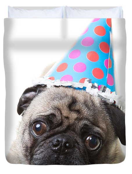 Happy Birthday Pug Card Duvet Cover by Edward Fielding