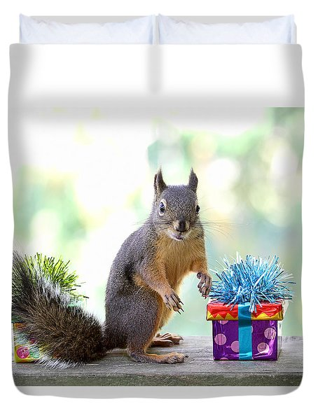 Happy Birthday To Tipsy The Squirrel Duvet Cover