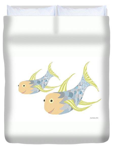 Happy Blue Fish Duvet Cover