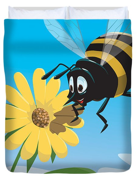 Happy Cartoon Bee With Yellow Flower Duvet Cover
