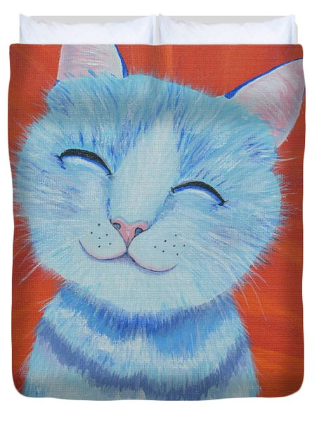 Duvet Cover featuring the painting Happy Cat by Mary Scott