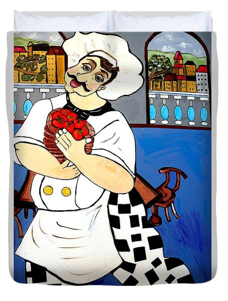 Duvet Cover featuring the painting Chef  Happy Chef by Nora Shepley