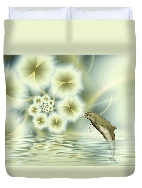 Happy Dolphin In A Surreal World Duvet Cover by Gabiw Art