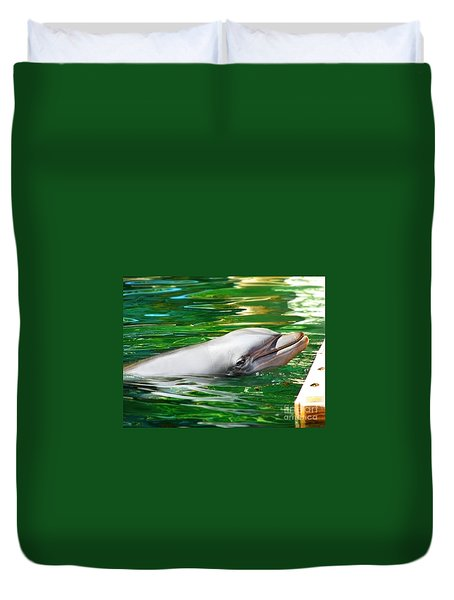 Duvet Cover featuring the photograph Happy Dolphin by Kristine Merc