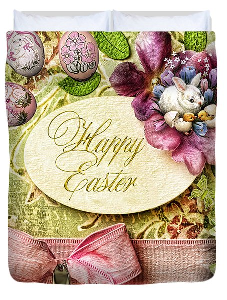 Happy Easter 2 Duvet Cover by Mo T