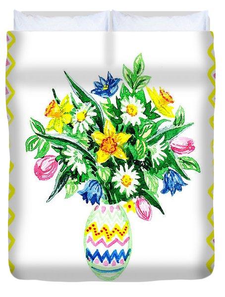 Happy Easter Bouquet  Duvet Cover