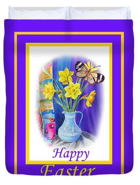 Happy Easter Daffodils Duvet Cover by Irina Sztukowski