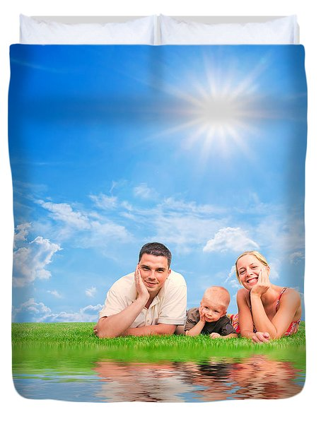 Happy Family Together On Grass Duvet Cover by Michal Bednarek