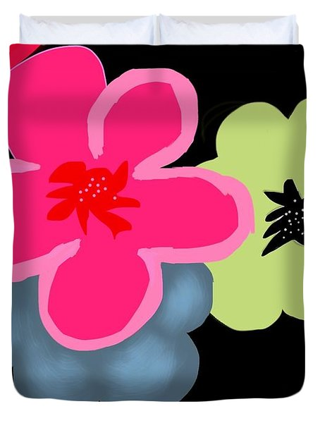 Duvet Cover featuring the digital art Happy Flowers Pink by Christine Fournier