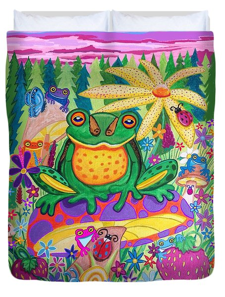 Happy Frogs And Wild Flowers  Duvet Cover