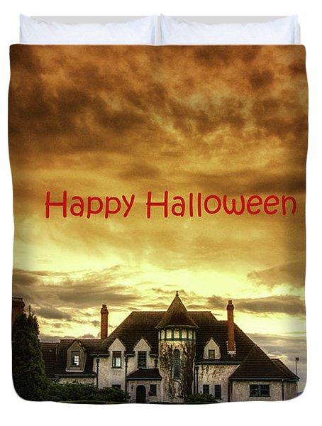 Happy Halloween Fiery Castle Duvet Cover by Eti Reid