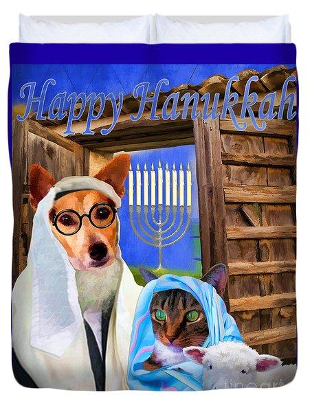 Duvet Cover featuring the digital art Happy Hanukkah  - 2 by Kathy Tarochione