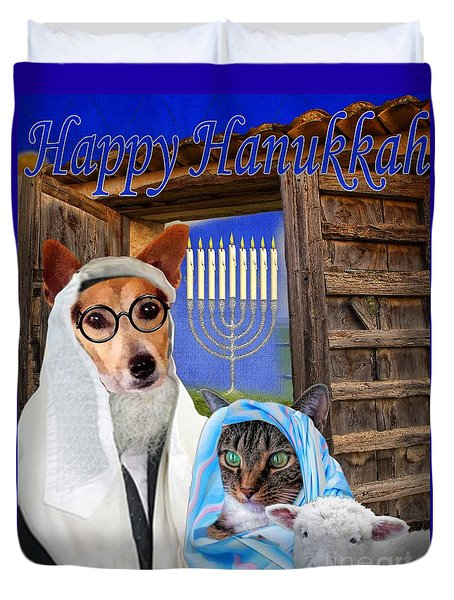 Duvet Cover featuring the digital art Happy Hanukkah -1 by Kathy Tarochione