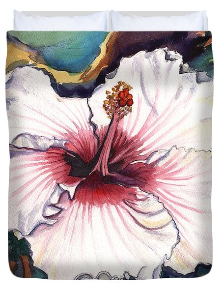 Duvet Cover featuring the painting Happy Hawaiian Hibiscus by Marionette Taboniar